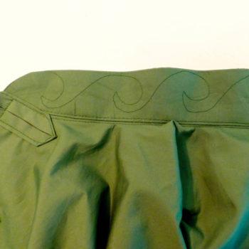 Tai Chi Anzugjacke | grüne Baumwolle mit Kragenstickmuster no 5