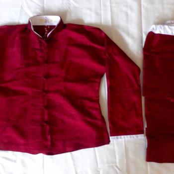Tai Chi Anzug | rote Dupionseide