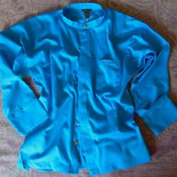 Hemd aus Bio-Baumwolle Satin, Farbe Türkis | auch in Schwarz, Weiß, Beige, Khaki