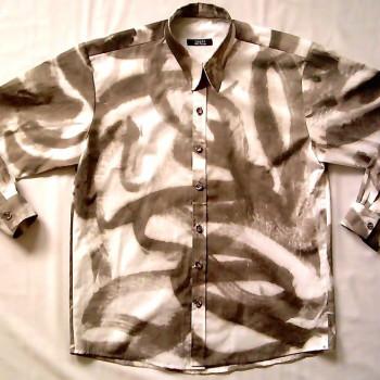 Herrenhemd | Stoff vorher handgemalt
