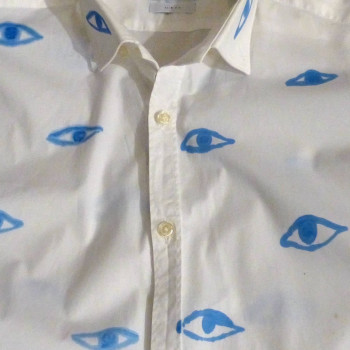 Augenhemd, handbemalt | Detail